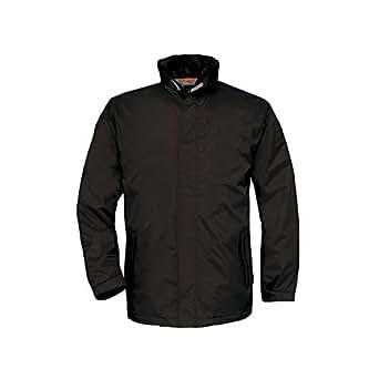 B&C Mens Ocean Shore Waterproof Hooded Fleece Lined Jacket (2XL) (Black)