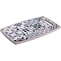 Brandani 53189 Alhambra - Tabla de cortar con cuchillo de acero inoxidable negro, multicolor