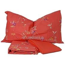 Completo lenzuola letto matrimoniale Arancio POWDER di Bassetti