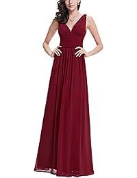 bd5ee477498 MILEEO femme ¨¦l¨¦gante V-cou robe maxi sans manches en mousseline de soie  robes de soir¨¦e longue couleur unie…