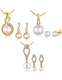 Combo Of 3 Lovely Studded Pendant Set With PearlCOMBO_388