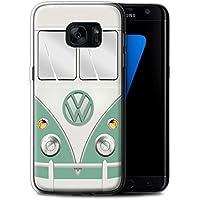 Coque Gel TPU de STUFF4 / Coque pour Samsung Galaxy S7 Edge/G935 / Vert Turquoise Design / Rétro T1 Bus Campeur Collection