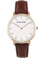Alienwork Classic St.Mawes Quarz Armbanduhr elegant Quarzuhr Uhr modisch Zeitloses Design klassisch rose gold braun Leder U04816M-04
