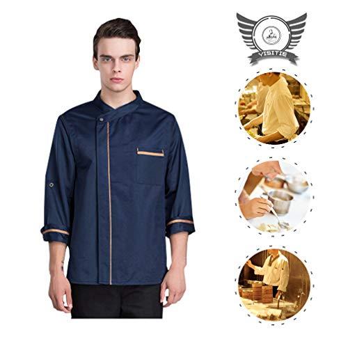 Chef Works Kleidung (YISITIE Chef Working Uniform Unisex mit Sieben Vierteln, atmungsaktives Unterarmnetz Chef Works-Kleidung, geeignet für Hotel, Restaurant, Geschäft für Nachspeisen,Blue,M)