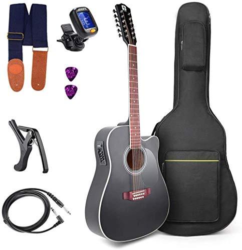 12-saitige Gitarre Akustische elektrische Cutaway-Gitarre 4-Band EQ Starter Kit 41 Zoll Schwarz 12-saitige Gitarre von Vangoa