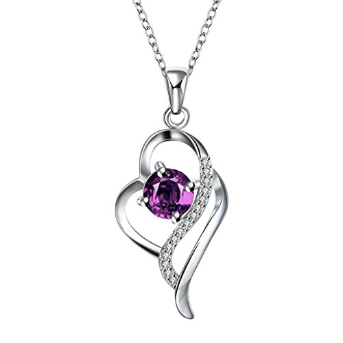 det Für Damen Kette Lila Elemente Herz Kristall Ribbon Design Anhänger Halskette (Pink Ribbon-elemente)