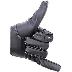 Guantes bluetooth de cuero negro