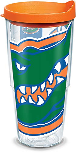 Tervis 1084687 Florida University Colossal Wrap Individual Tumbler with Orange lid, 24 oz, Clear by Tervis -