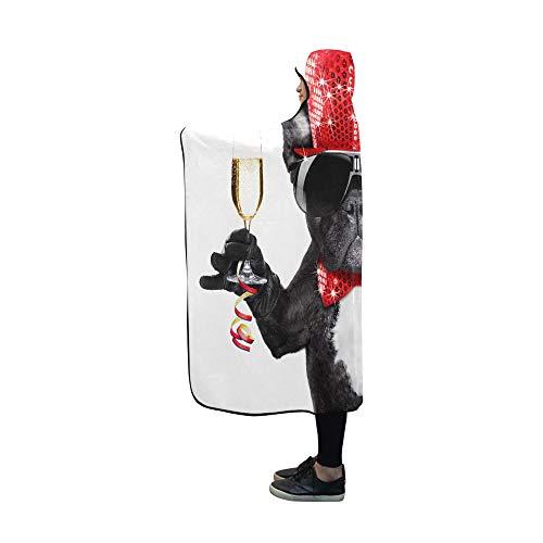 JIMO Mit Kapuze Decke Lustige französische Bulldogge mit niedlicher Gesten-Decke 60 x 50 Zoll Comfotable Mit Kapuze Wurfverpackung