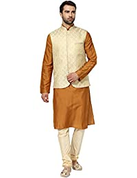 kisah Benarasi Cotton SilkSelf DesignWaistCoat for For Men's