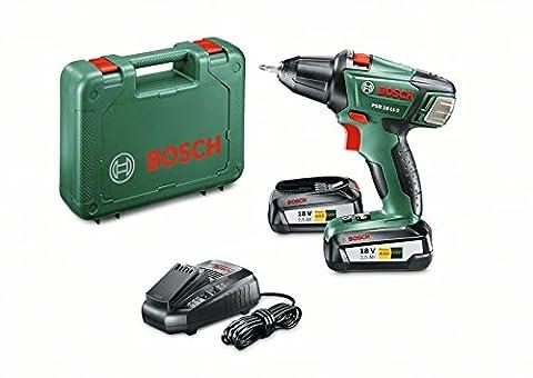 Bosch Akkuschrauber PSR (18 LI-2 mit 2x Akku, Ladegerät, Doppelschrauberbit, Koffer, 18 Volt System, 2,5 Ah)