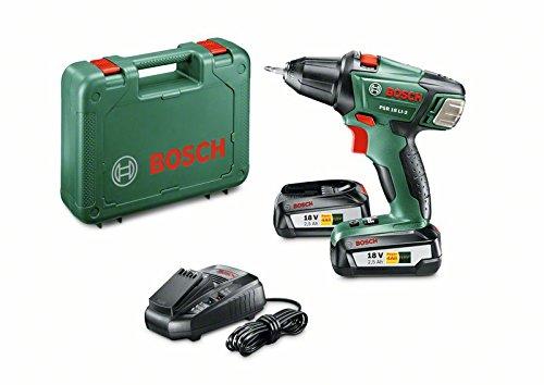 Bosch DIY Akku-Bohrschrauber PSR 18 LI-2, 2 Akku, Ladegerät, Doppelschrauberbit, Koffer (18 V, 2,5 Ah, 35 mm Bohr-Ø in Holz)