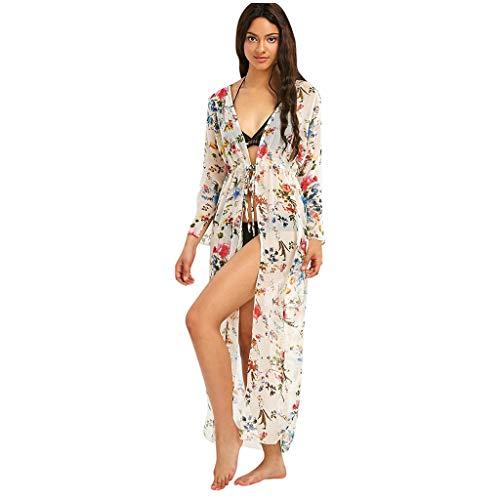 Cardigan estivo donna lungo boho hippie chic kimono chiffon tunica aperta moda casual copricostume per spiaggia abito pareo mare costume da bagno vestito tinta unita kaftano bikini cover up beachwear