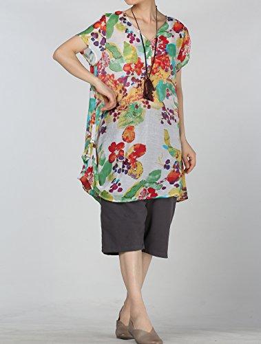 Vogstyle Damen Summer Lightweight Bedruckte A-Linie Jersey Kleider Casual T-Shirt Tops Beige