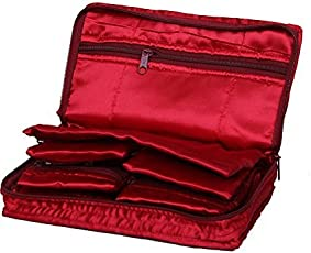 Kuber Industries Satin Jewellery Pouch, Maroon