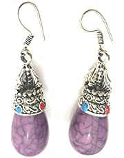 athizay Brass Purple German Silver Cylindrical Design Drop and Dangle Resin Earring for Women