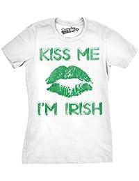 Crazy Dog Tshirts Womens Green Lips Cute Kiss Me I'm Irish Funny ST. Patrick's Day T Shirt