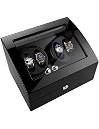 Automatic Watch Winder Box with 4 winder positions, 6 storage spaces, 4 modes, Wood Shell, Piano Paint Black Gloss