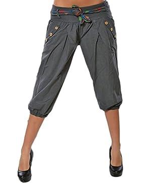 Elegantes Moda 3/4 Pantalones Primavera Verano con Cinturón con Bolsillos Cintura Media Niñas Ropa Breasted Anchos...