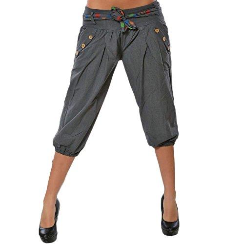 Elegantes Moda 3/4 Pantalones Primavera Verano con Cinturón con Bolsillos Cintura Media...