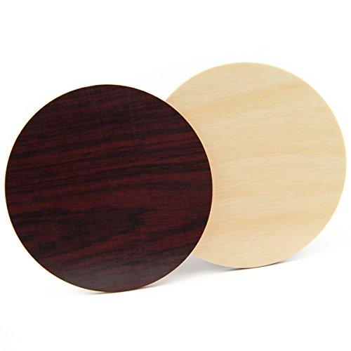 4er Set Premium Untersetzer aus Holz für Gläser mit 2 unterschiedlichen Dekoren | Mahagoni + Birke | 9 cm Durchmesser | Spülmaschinenfest | Lebensmittelecht | Handgefertigt -