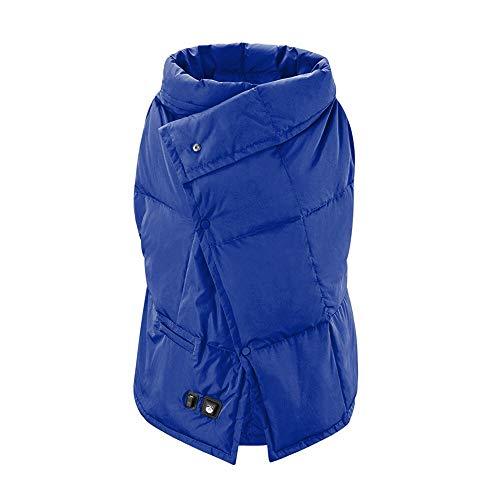 Foern Donna Gilet Riscaldato USB Carica Lavabile Abbigliamento Moto Invernale Warm Ricarica Misura Pezzo Riscaldamento,Blu