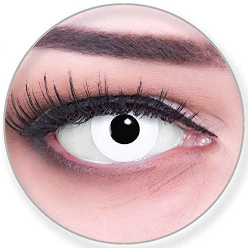 Funnylens Farbige schwarze Kontaktlinsen White Out mit Stärke - weich ohne Stärke 2er Pack + gratis Behälter - 12 Monatslinsen - perfekt zu Halloween Karneval Fasching oder Fasnacht -1.00