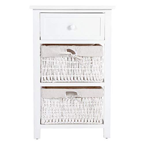 Ebtools mobili comodino per cameretta, mobiletto per il bagno, comodino cassettiera con 1 cassetto 2 ceste, per bagno ingresso e camera da letto, in legno paulownia, stile country(bianco)