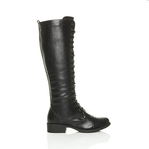 Femmes talon bas hauteur du genou mollet armée lacer bottes militaires pointure Noir
