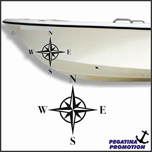 2 x Kompass Aufkleber aus Hochleistungsfolie - viele Farben zur Auswahl - Angler Angelboot Sticker Boot Boote Beschriftung Bug Heck Fische Angeln Schlauchboot Nautic See Fischer Bootsbeschriftung Bootbeschriftung Fischen Sticker