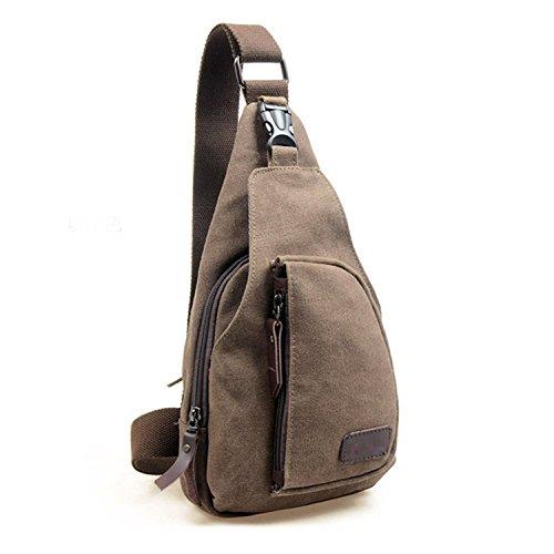 Termichy crossbody rucksack bodybag Coole Outdoor Sports beiläufige Segeltuch Unbalance Rucksack Umhängetasche Sling Bag Umhängetasche Brusttasche für Männer (Kaffee)