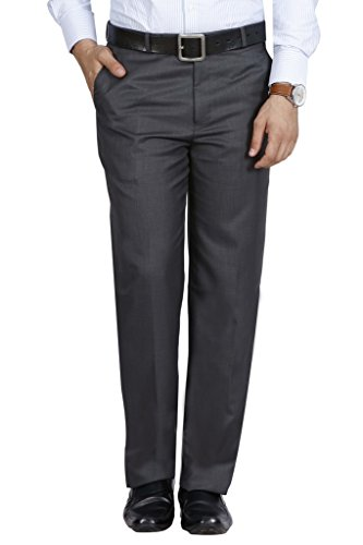 McHenry Men's Solid Formal Regular Fit PolyViscose Grey Trousers(Grey4004-42_Grey_Size:42)