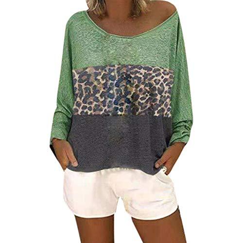 Andouy Damen Hemd Top Leopardenmuster Farbblock O Neck Tunika Plus Size Gr.38-48 Langarmbluse Übergroß(3XL(48),Grün)