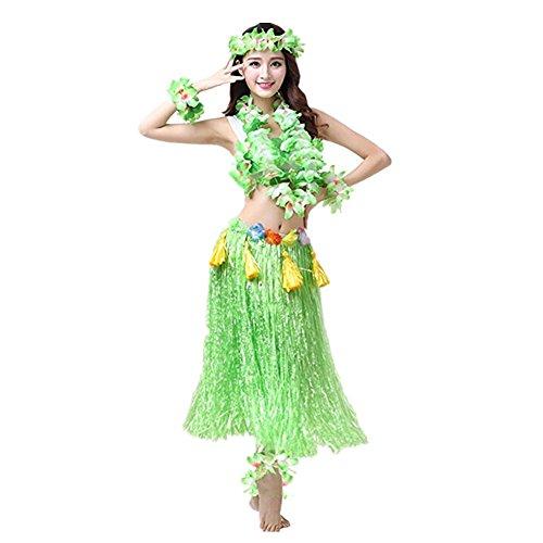Hawaiano-Hula-Vestido-Falda-Hierba-Guirnaldas-de-flores-Accesorios-de-playa-Dance-Costume-Disfraces-Verde