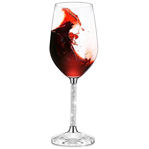Ifolaina bicchieri da vino rosso bicchieri con 15 once senza piombo e gambo con diamante in cristallo lungo - regali di compleanno, anniversario o matrimonio