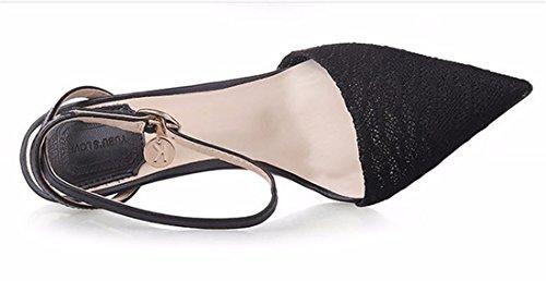 Nouvelles Femmes Orteil Pointu Chaussures Hauts Talons Boucle En Metal Stiletto Sandale Noir