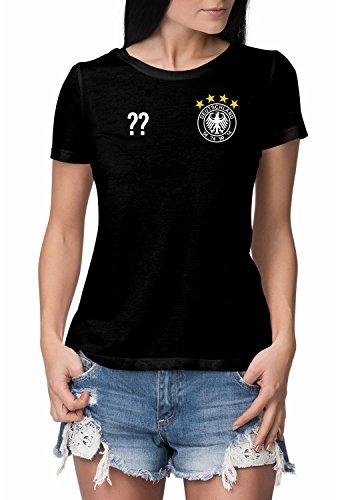 Deutschland Trikot Damen Fan T-Shirt schwarz mit eigenem NAMEN und WUNSCHNUMMER – Fussball-Trikot Nationalmannschaft WM 2018/ EM 2020 – 4 oder 5 Sterne 4 Sterne | vorne + hinten: Wunsch L
