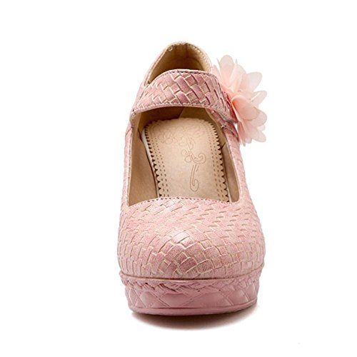 COOLCEPT Mode-Event Damen Bohemia Blume Pumps Knochelriemchen Schuhe Plateau Pink