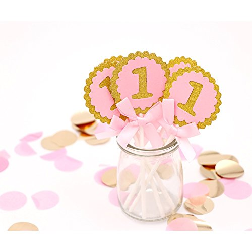 Süße Kuchen Topper 1001ST BIRTHDAY CAKE TOPPER Birthday Party Dekorationen Kids rund rosa blau Cupcake Topper Kuchen dekorieren, Arztausstattung, Pink