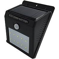 LIVHÒ | Faro LED da parete con sensore crespuscolare e di movimento e accensione automatica, alimentazione con pannello solare, senza fili, batterie ricaricabili e tasselli per il fissaggio inclusi, waterproof