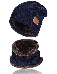 b148bf2266 Kata Berretto Uomo Invernali Cappello Beanie in Maglia Sciarpe da Sci con  Sciarpa Cappello Passamontagna