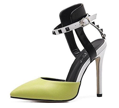 Sommer der Frauen ferse schuhe, große Werften Sandalen, Pumps, High Heels, Heel Schuhe, grau, 34