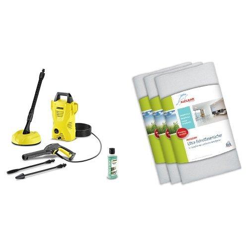Kärcher Hochdruckreiniger K 2 Compact Home, 1.673-124.0 und ALCLEAR Premium Ultra-Microfasertücher für Dampfreiniger 3er Set