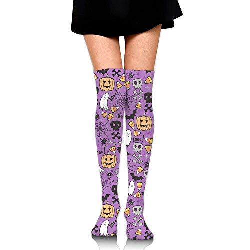 Halloween Doodle Skulls Bat Upgraded Knee High Graduated Compression Socks Women Men - Best Medical,Nursing,Travel & Flight Socks - Running & Fitness.