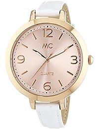 MC Timetrend Damen-Armbanduhr, rosefarben, mit weißem Lederband, Analog Quarz 51296