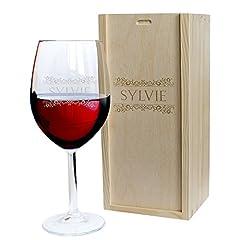 Idea Regalo - Calice da vino e cassetta personalizzati con nome - modello fregio
