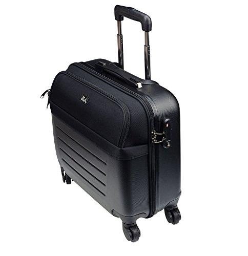 JSA Hybrid Business Trolley aus ABS - Kunststoff, circa 44 × 46, 5 × 24 cm Laptop Rollkoffer, 46 cm, 31 L, Schwarz