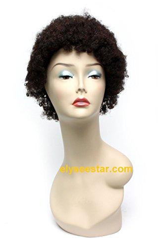 Hailey – 100% Cheveux Humains Naturels non traités Vierge remy court Bob perruque afro (style : Rétro –) 6 A pour homme et femme Noir # + 1 perruque – Couleur naturelle par 1ère Qualité Lady