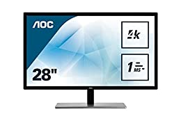"""AOC Monitores U2879VF - Monitor de 28"""" (resolución 3840 x 2160 Pixels, tecnología WLED, Contraste 1000:1, 1 ms, HDMI), Color Plata y Negro"""