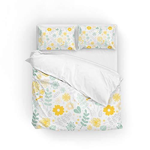 jeansame Bettwäsche Bettwäscheset Bettbezug Set 155x220cm mit 1 Kissenbezug 80x80cm Weiße Sonnenblume Floral Daisy Yellow Green Garden Volle größe - Daisy-duvet-set